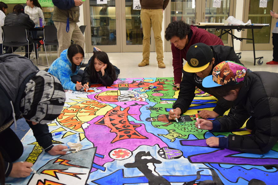 Youths paint a mural about climate change