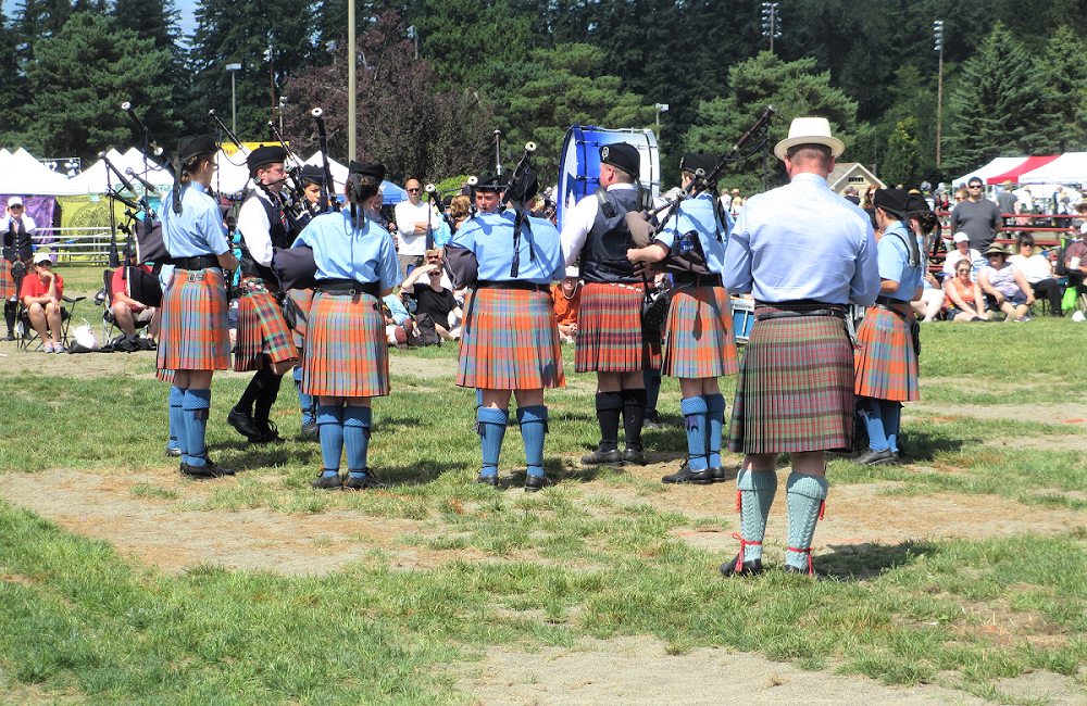 Pipe Band performs at Scottish Highland Games in Enumclaw Seattle