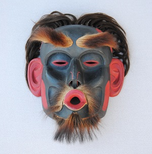 Dzoonokwa mask by Bill Holm at Sasquatch exhibit White River Valley Museum