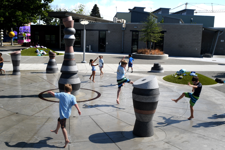 New Yesler Terrace Park spray park credit JiaYing Grygiel