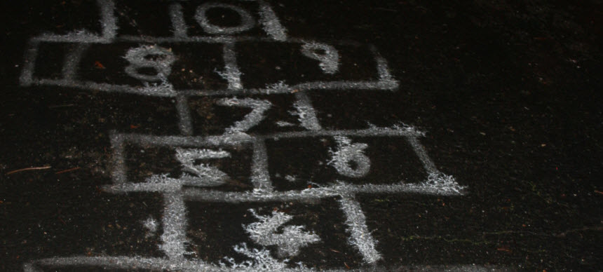 After-dark hopscotch with glow in the dark paint