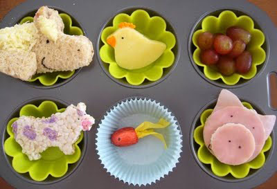 Animal muffin tin lunch