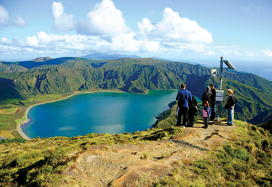 a family and beautiful azores view