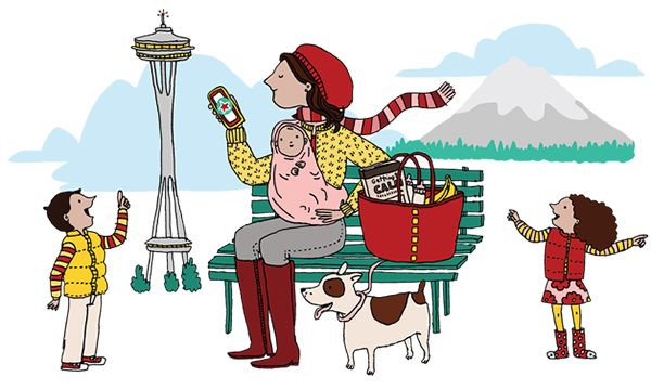 Seattle Mom with kids illustration