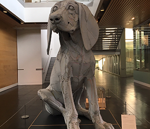 Leroy, a fun sculpture in the opening gallery of TAM, welcomes families