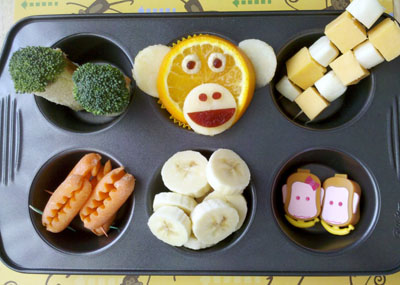 Monkey muffin tin lunch