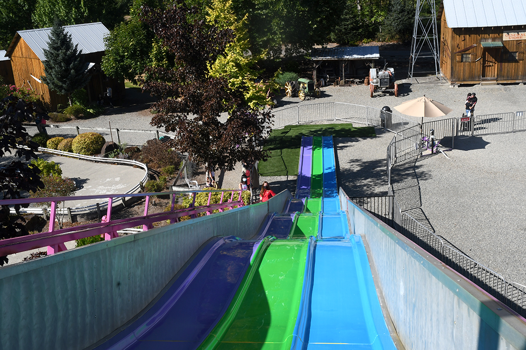 The view from the top of the giant slide at Remlinger Farms' Family Fun Park