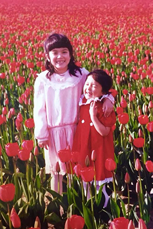 Me and my sister, Gigi, at the Tulip Festival (we are 6 and 4 years old here, I think)