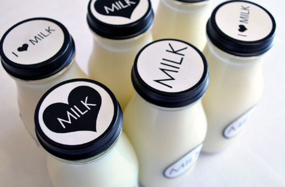 Decorated bottles of milk