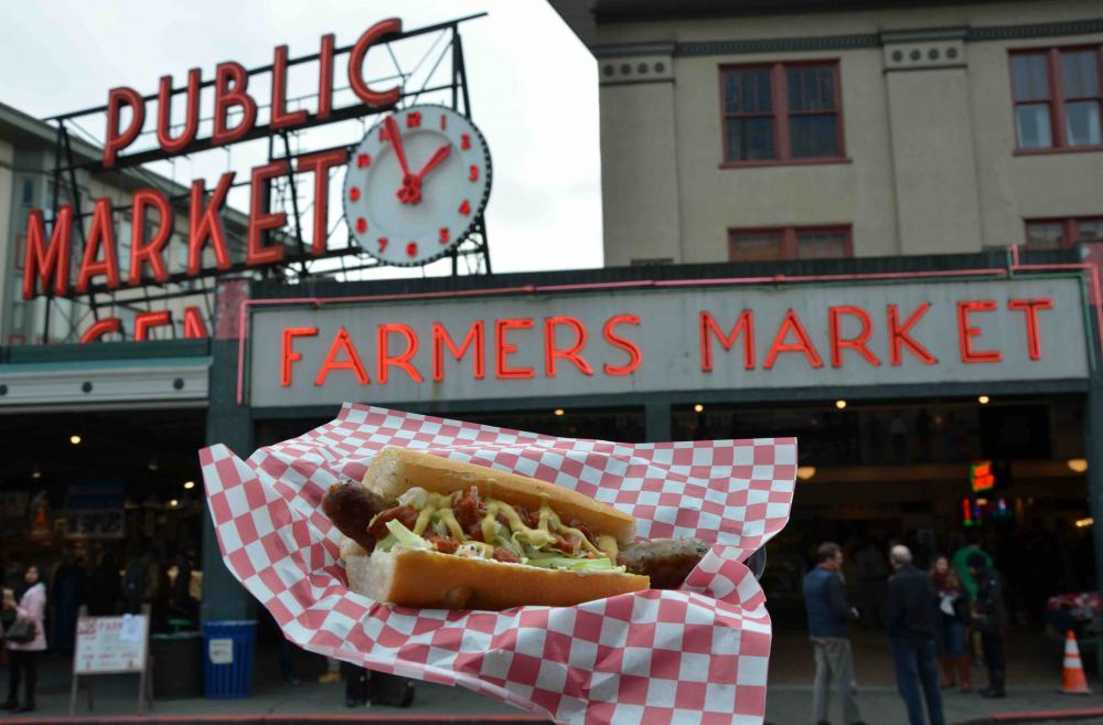 Uli's famous sausage at Pike Place Market