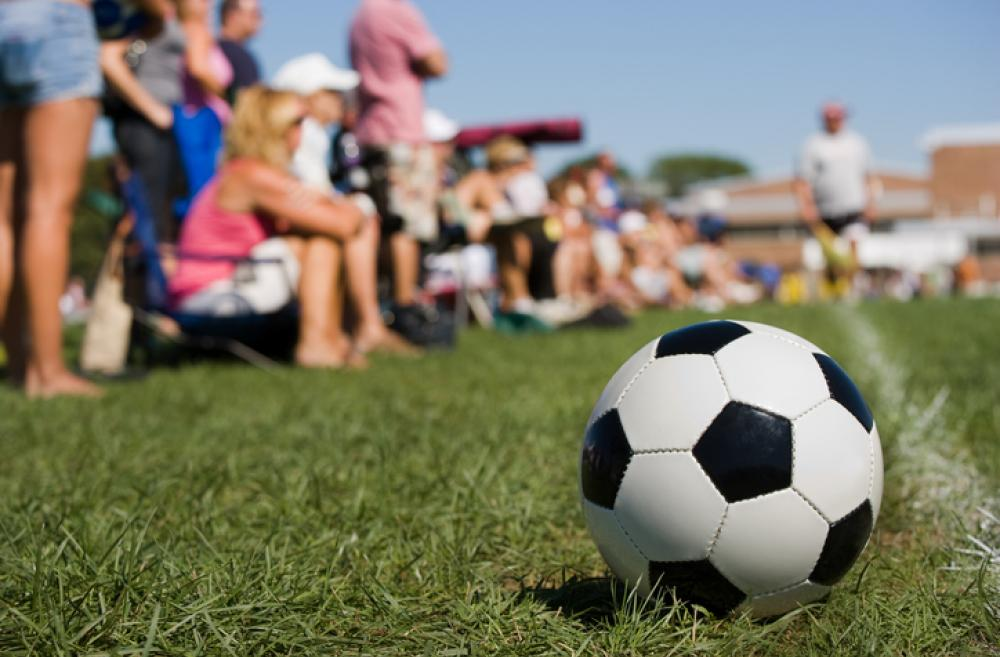 Soccer ball on sidelines