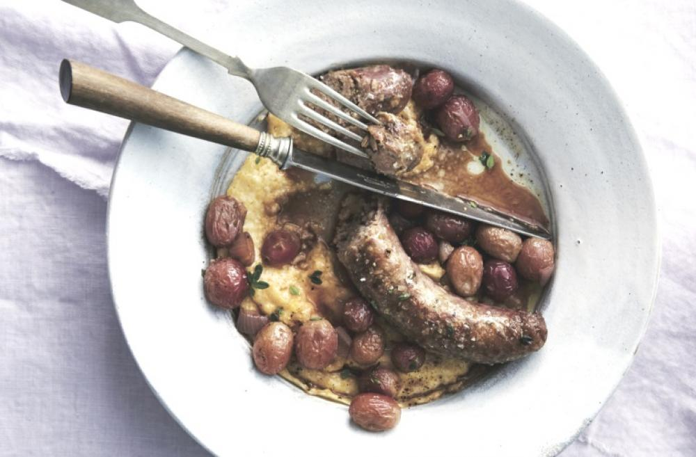 Italian sausages with roasted grapes