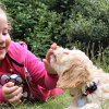 Young girl playing with puppy