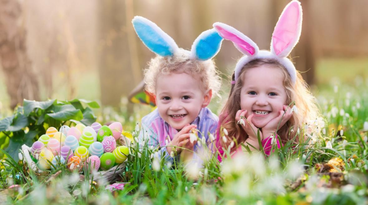 Two girls in bunny ears on Easter