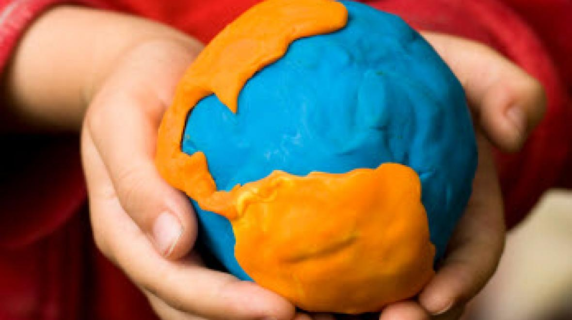 Globe made of play-dough