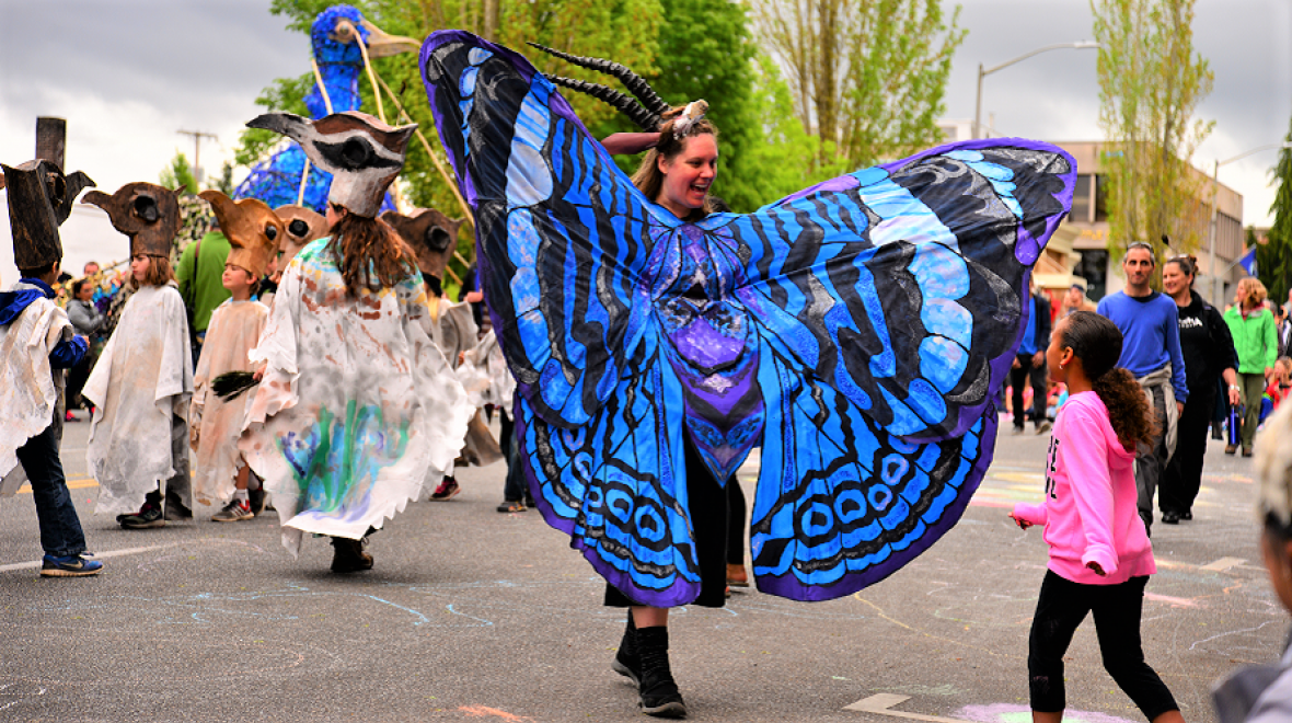 Butterfly costume in Procession of the Species