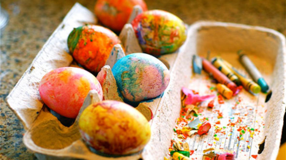 "Crayon ""dyed"" Easter eggs"