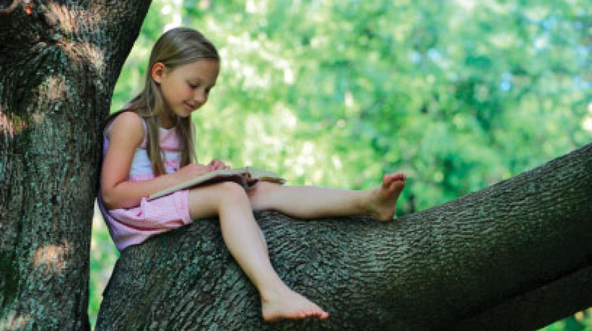 Girl reading in a tree