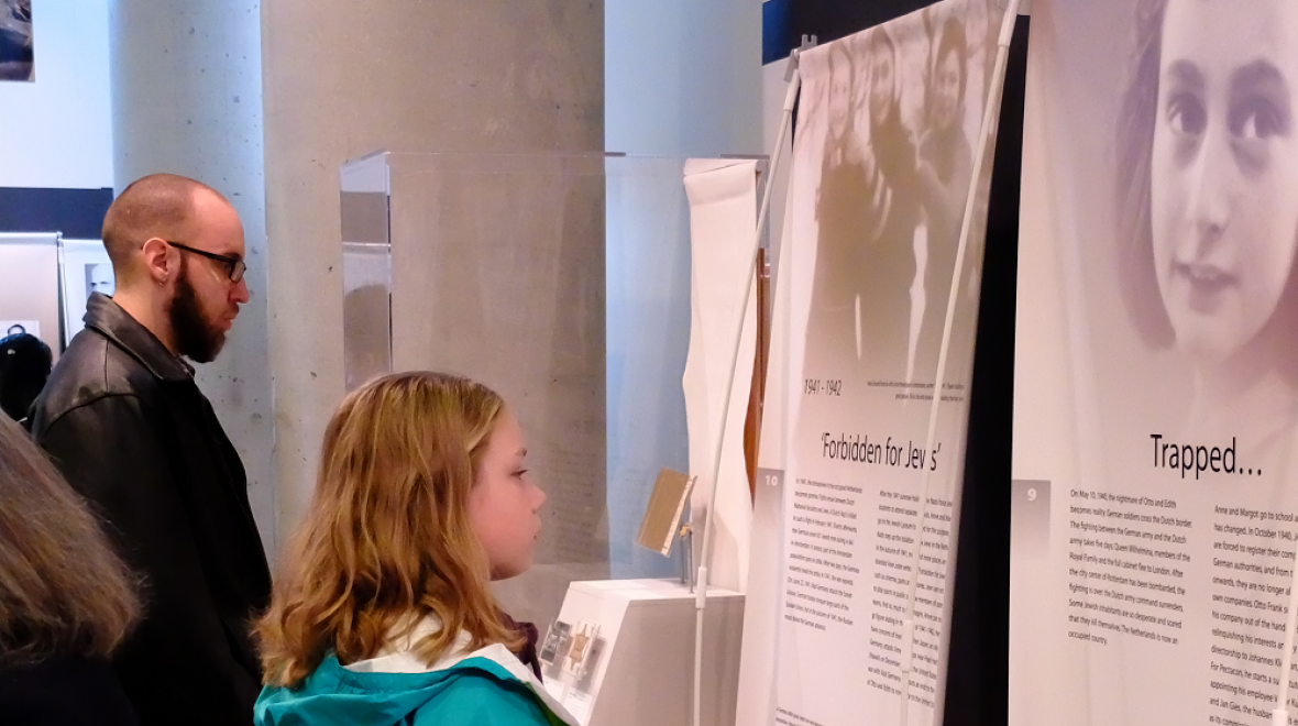 Visitor at Let Me Be Myself - The Life Story of Anne Frank exhibit