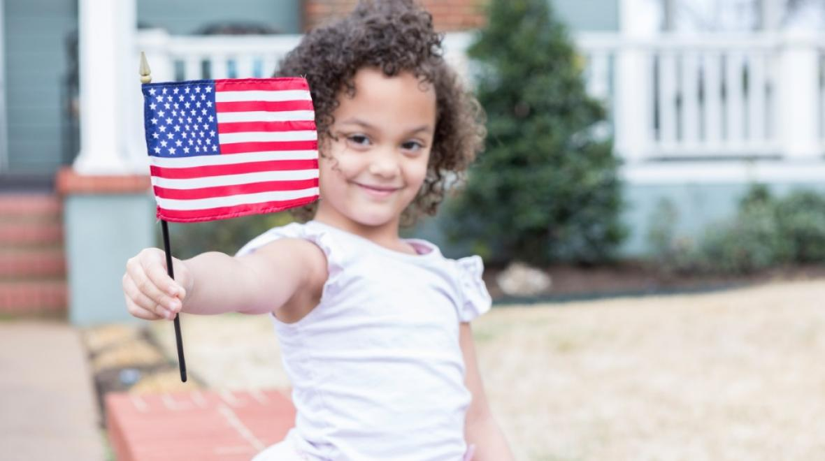 Girl with Memorial Day flag