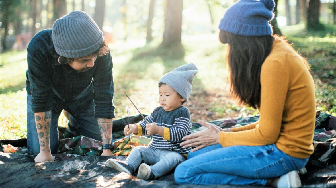 Family camping with small child