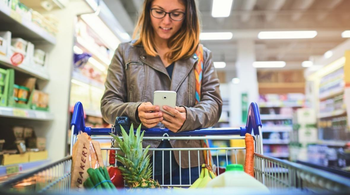 Woman shopping with cell phone
