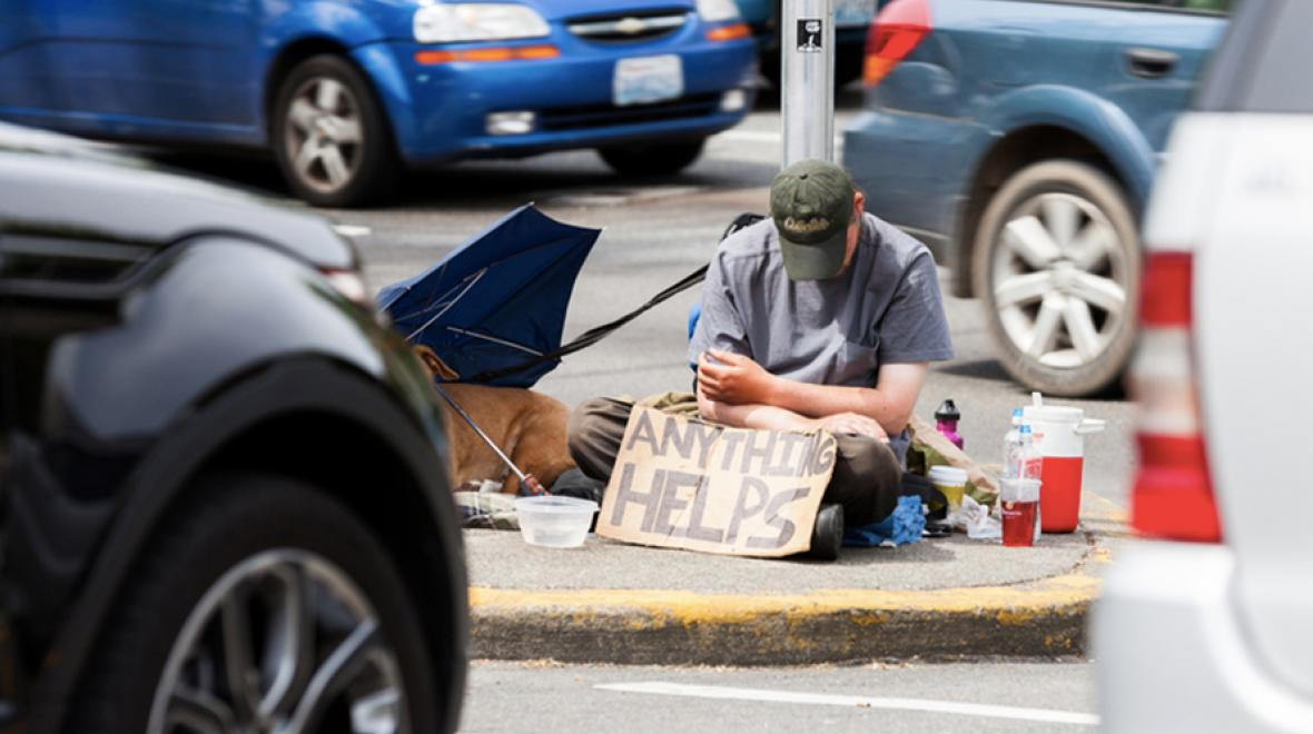 Homeless man in Seattle, Washington