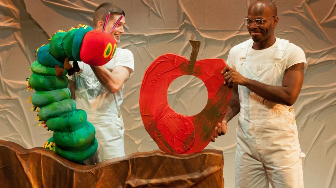 The Very Hungry Caterpillar puppet in Seattle Children's Theatre show
