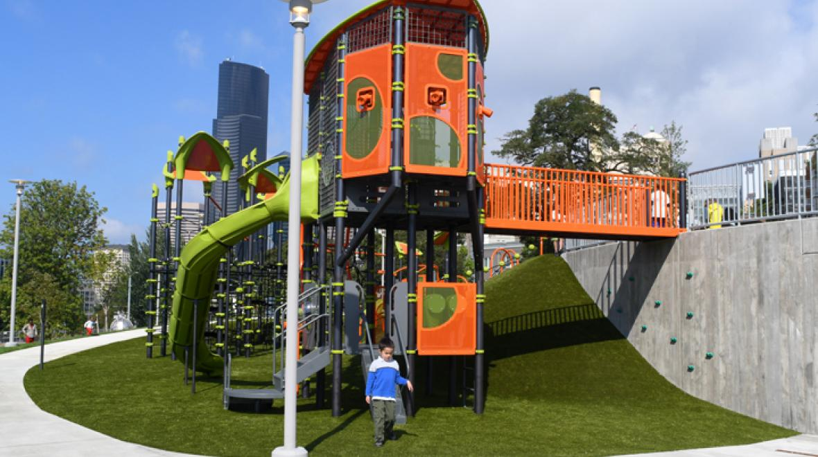 Climbing fort at new Yesler Terrace Park