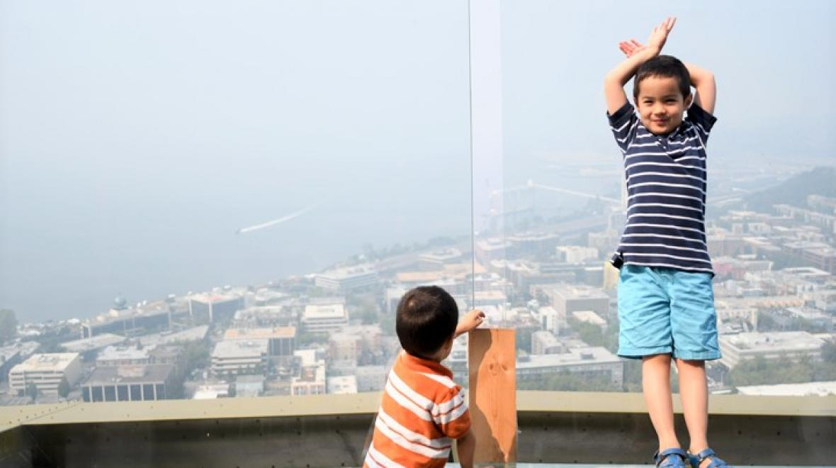 Kids at the newly renovated Space Needle