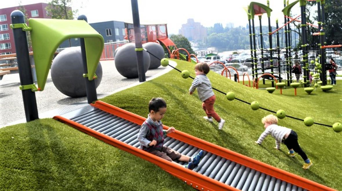 best new playgrounds Yesler Terrace Park playground