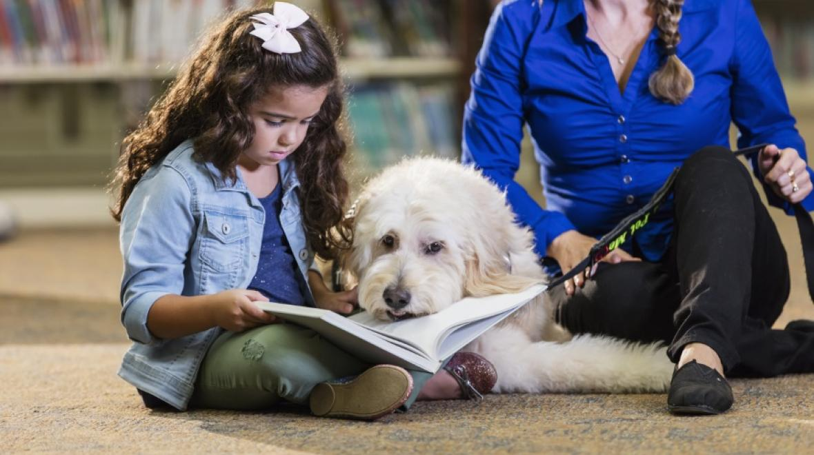 Kid and dog at library