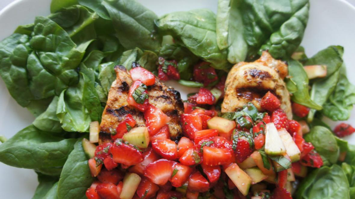 Grilled Chicken Breasts with Strawberry Cucumber Salsa