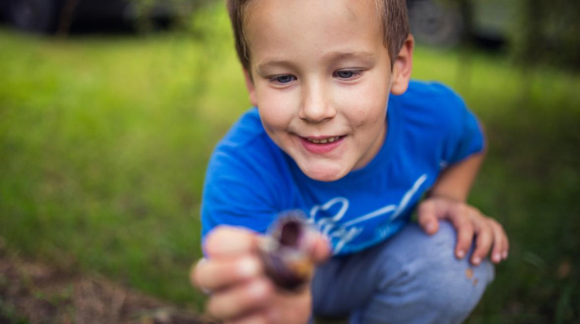 boy-inspecting-small-rock-snail-nature-treasure-hunt-park-around-the-block