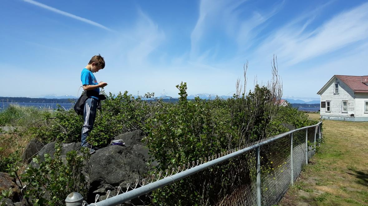 Discovery-Park-beach-boy-finding-geocache-seattle-best-things-to-do-with-kids