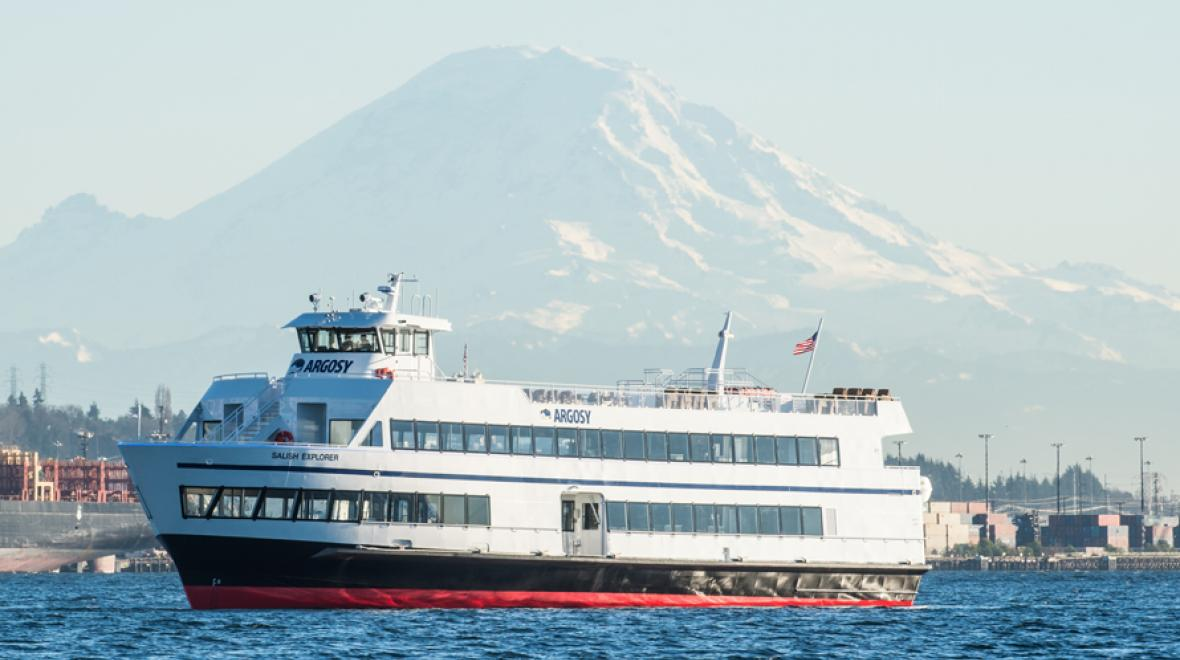 argosy ship with mt rainier in the background