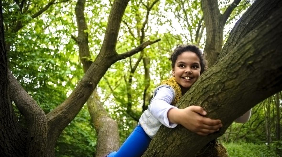 girl smiling climbing tree nature fun best weekend events for seattle families kids tacoma bellevue puget sound