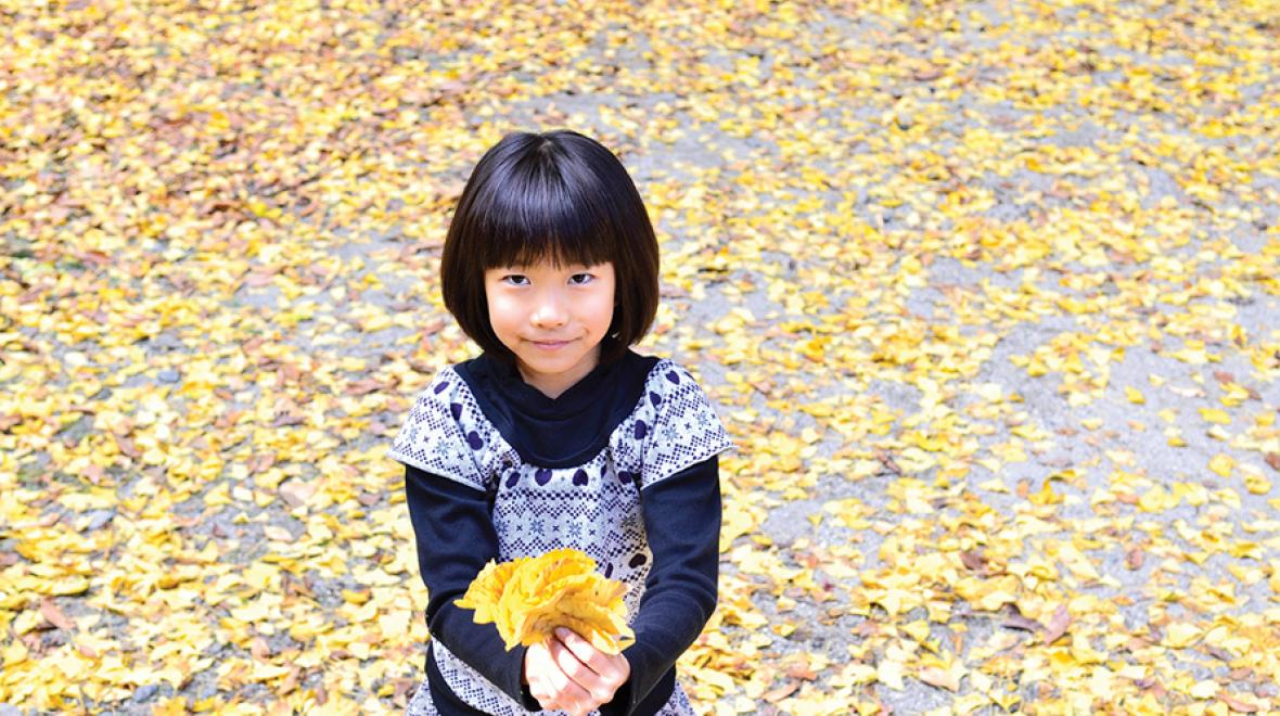 Young girl holding golden fall leaves and looking up at camera Seattle area nature walks and related crafts for kids