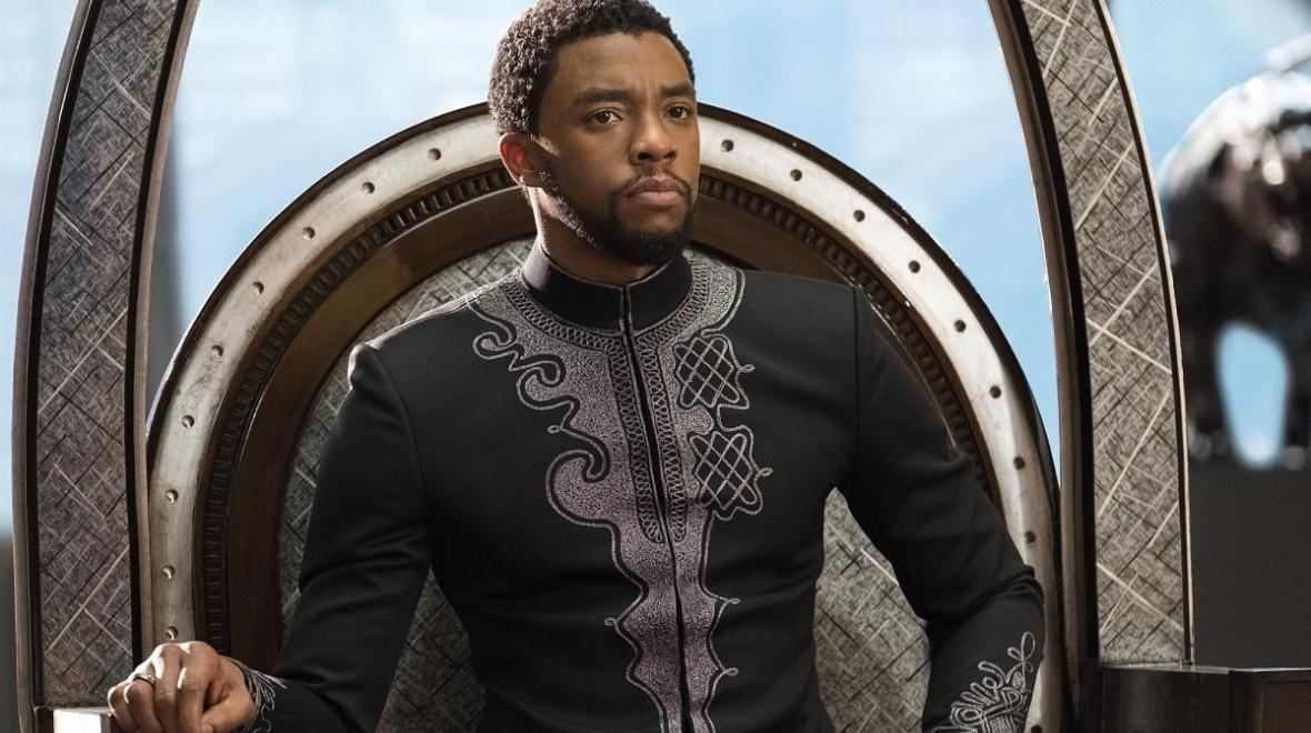 Actor Chadwick Boseman portraying the charactor Black Panther in the 2017 Marvel Studios movie 'Black Panther'