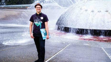 James Whetzel at the Seattle Center fountain
