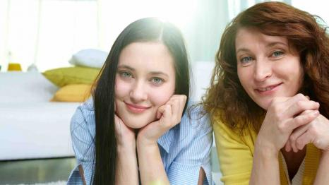 Teen daughter and mom