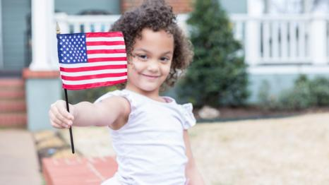 Girl with Flag on Memorial Day