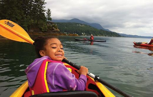 Little girl kayaking