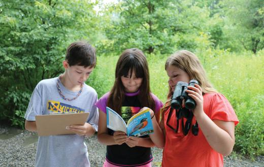 Kids participating in BirdSleuth
