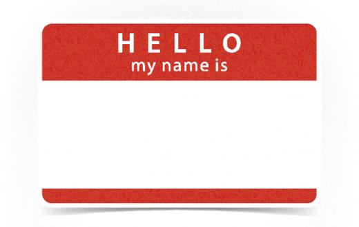 Red name tag