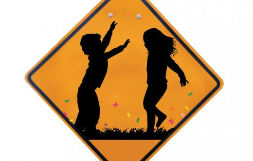Free-range kids road sign