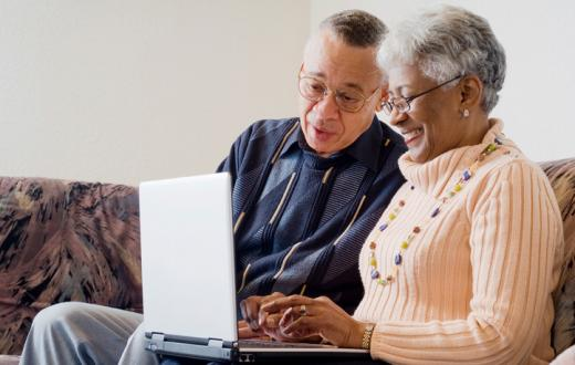 Grandparents with computer