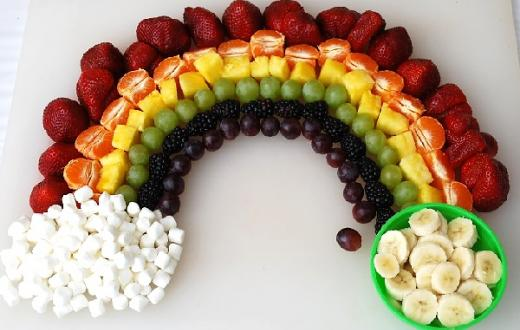 Rainbow made of food