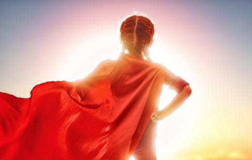 Girl with red cape on