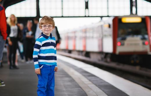 Young boy by train